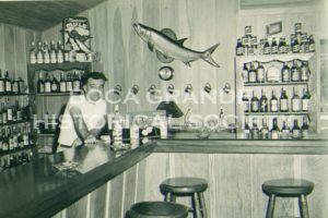 Inside the old Pink Elephant with bartender, Forest Stover, on duty.