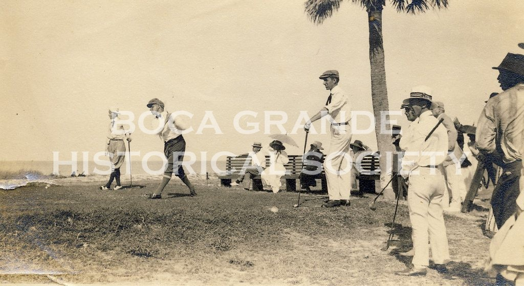 Walter Hagen teeing off at the Gasparilla Inn Golf Course 1918