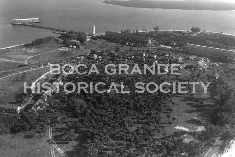 Port Boca Grande black white aerial photo