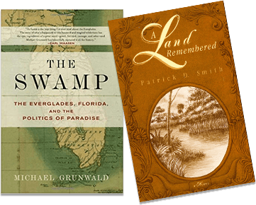 Two book covers: The Swamp and A Land Rememebered