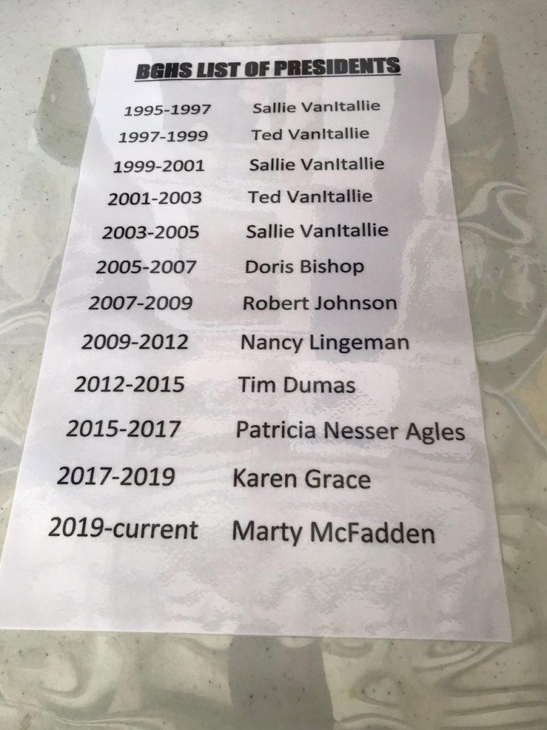 BGHS list of presidents
