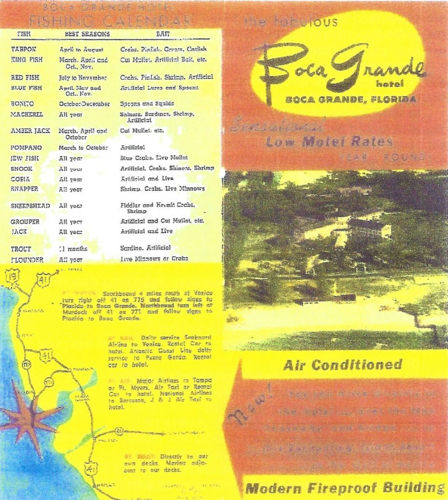 unreadable Boca Grande Hotel flyer showing fishing calendar and map