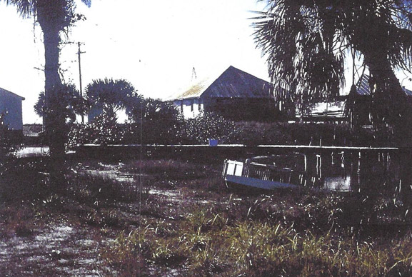 old photo showing a houses boat and shrubbery