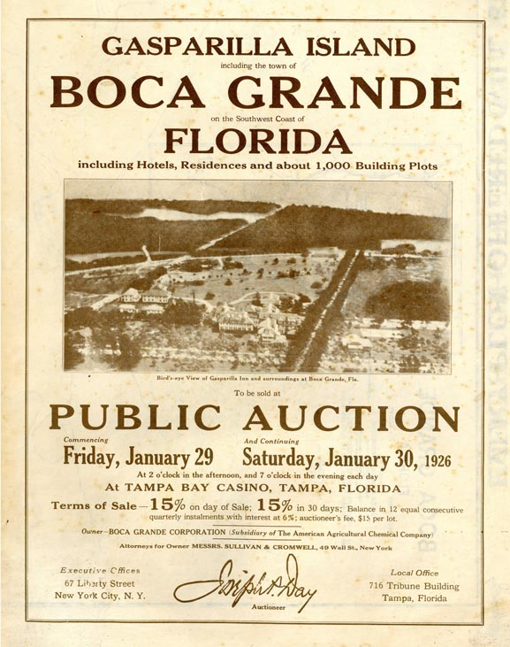 poster advertising for public auction of Boca Grande land