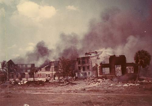 smoldering ruins of Boca Grande Hotel