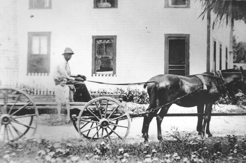horse-drawn ice wagon with man and boy