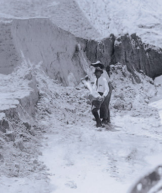 phosphate miner with fossilized bone