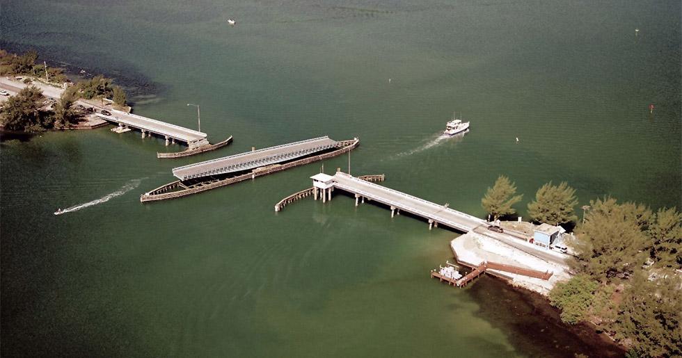 aerial shot of bridge and Boca Grande causeway