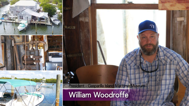 Photo collage showing William Woodroffe and aerial view of old boca grande marina