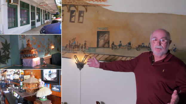 Photo collage of guy next to mural and strip mall plaza