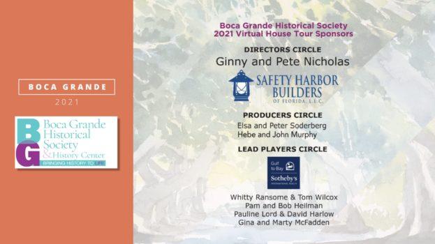 Boca Grande Historical Society 2021 Virtual House Tour incl. list of sponsors
