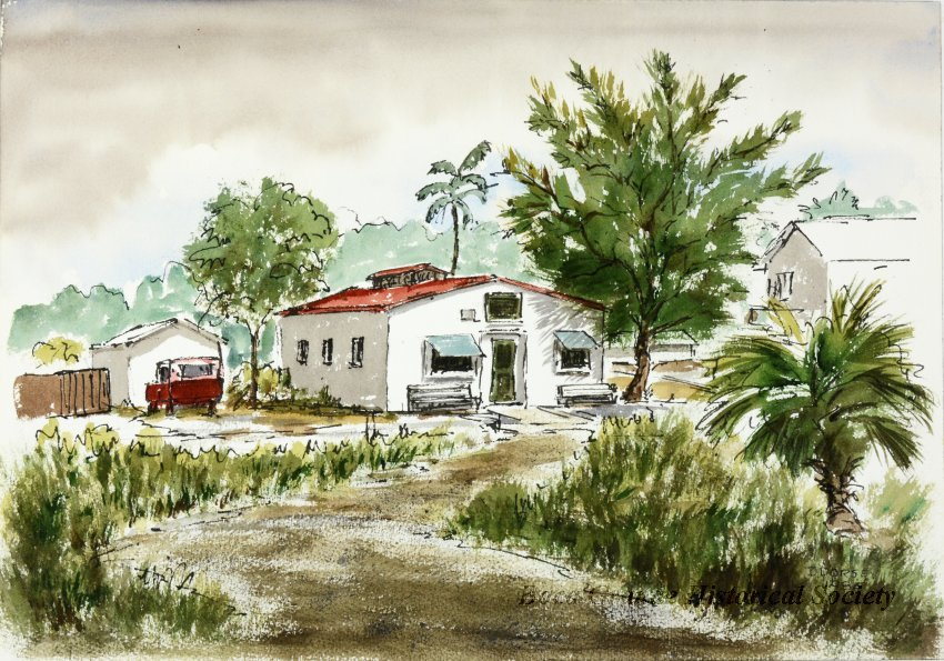 watercolor painting of small building